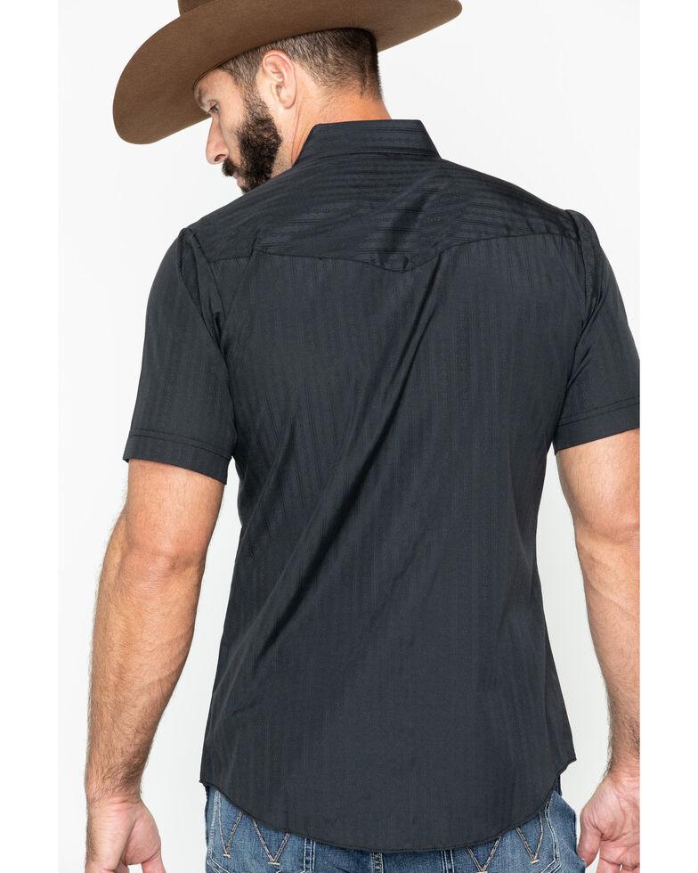 Ely Walker Men's Tonal Dobby Striped Short Sleeve Western Shirt, Black, hi-res