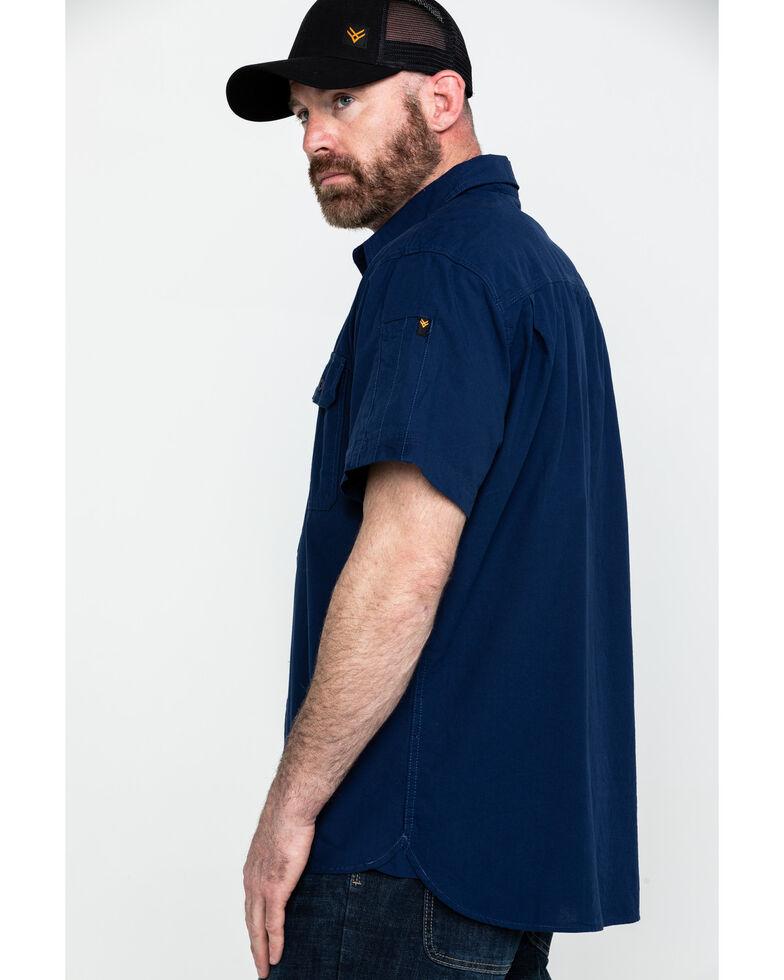 Hawx Men's Navy Solid Yarn Dye Two Pocket Short Sleeve Work Shirt - Tall , Navy, hi-res