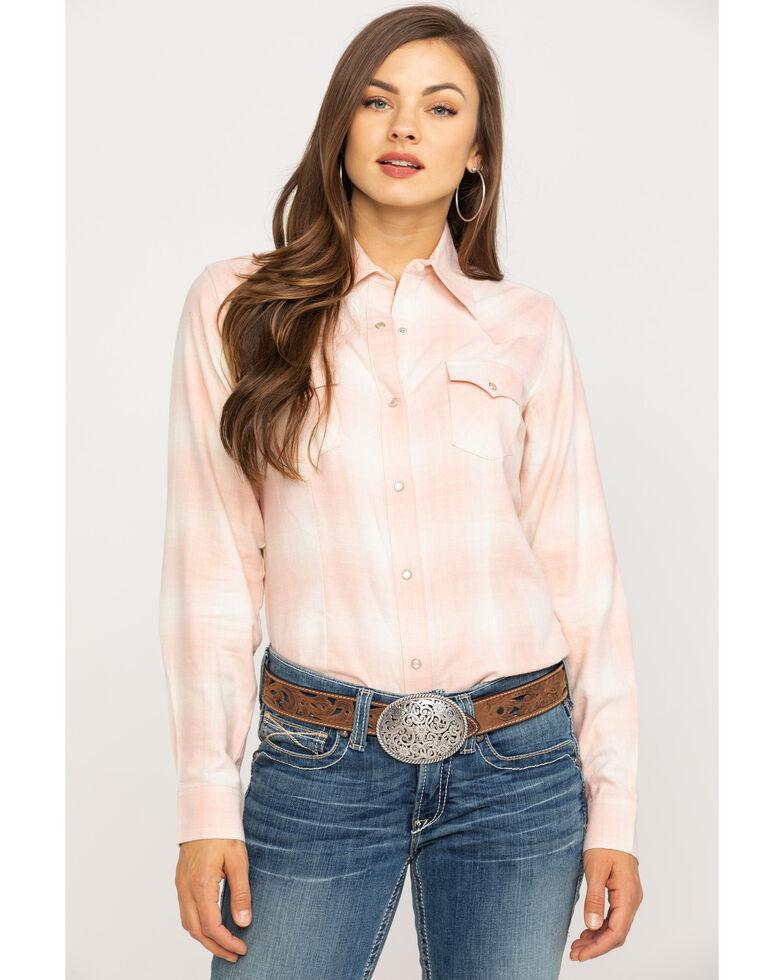 Wrangler Women's Blush Plaid Flannel Shirt, Blush, hi-res