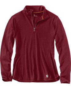 Carhartt Women's Force Ferndale Quarter Zip Shirt , Black Cherry, hi-res