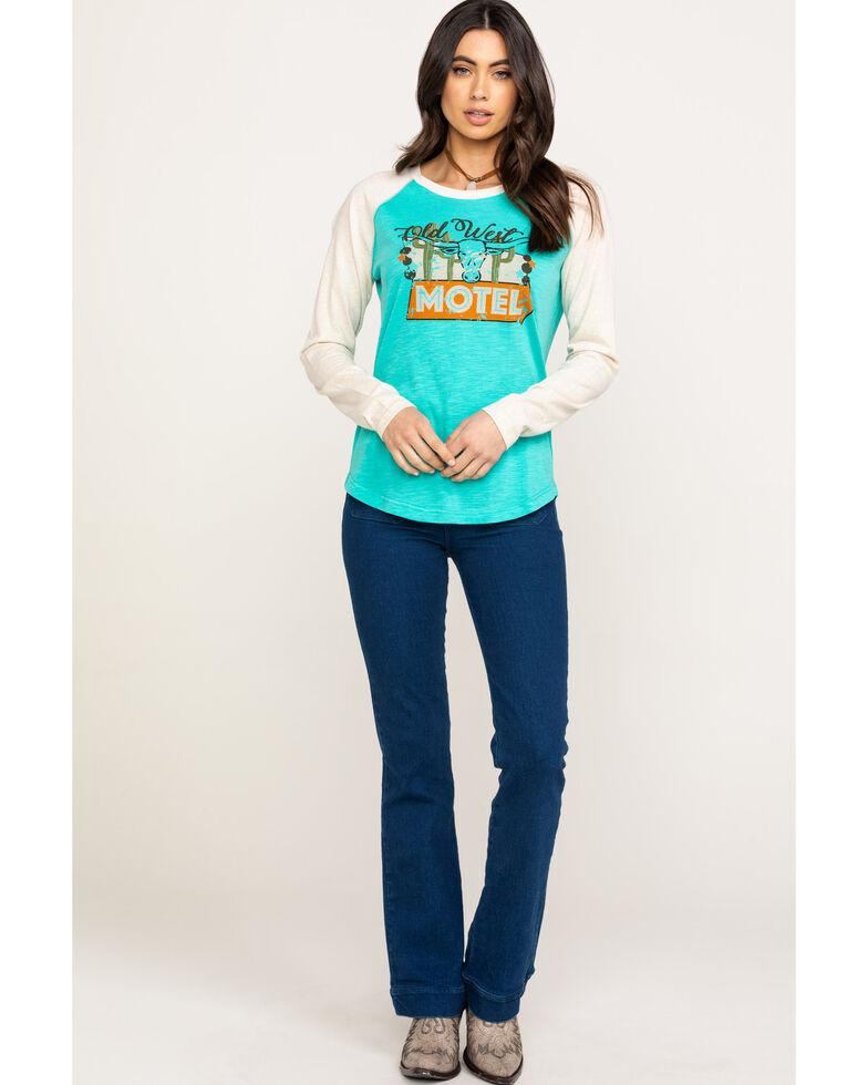 Ariat Women's Old West Raglan Long Sleeve Tee, Turquoise, hi-res