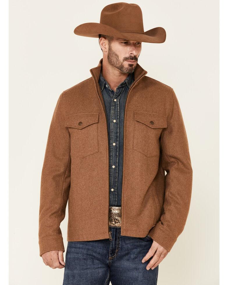 Powder River Outfitters Men's Solid Tan Zip-Front Wool Jacket , Tan, hi-res