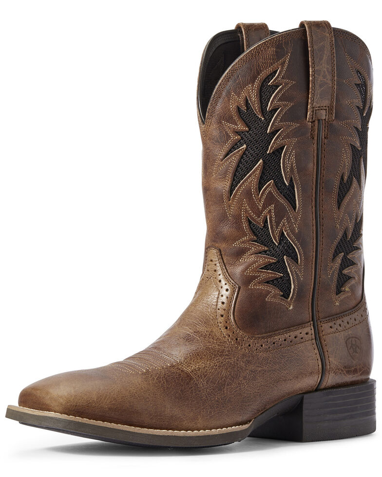 Ariat Men's Sport Cool VentTEK Western Boots - Wide Square Toe, Brown, hi-res