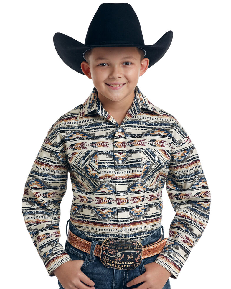 Rough Stock By Panhandle Boys' Rio Medio Vintage Aztec Print Long Sleeve Western Shirt, Multi, hi-res