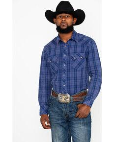 71687aaa7a8c9 Rock   Roll Cowboy Men s Indigo Plaid Long Sleeve Western Shirt