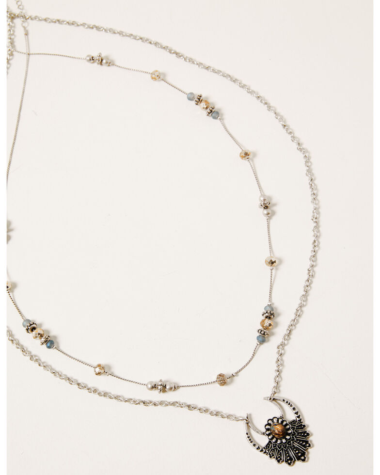 Shyanne Women's Claire Layered Beaded Necklace, Silver, hi-res