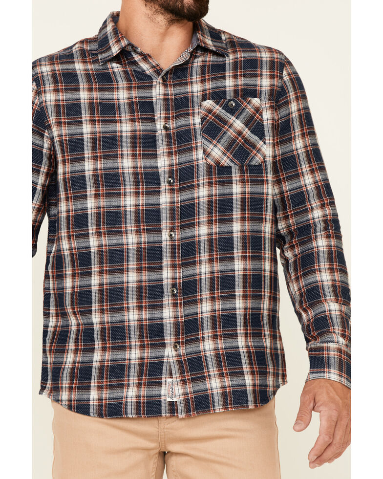 Flag & Anthem Men's Navy Sarona Double Layer Dobby Plaid Long Sleeve Button-Down Western Shirt, Navy, hi-res