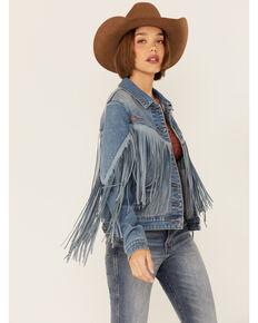 Rock & Roll Denim Women's Light Wash Tonal Suede Fringe Button-Down Denim Jacket , Light Blue, hi-res
