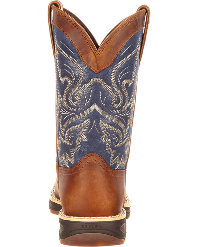 Durango Women's Ultra-Lite Western Work Boots - Square Toe, Brown/blue, hi-res