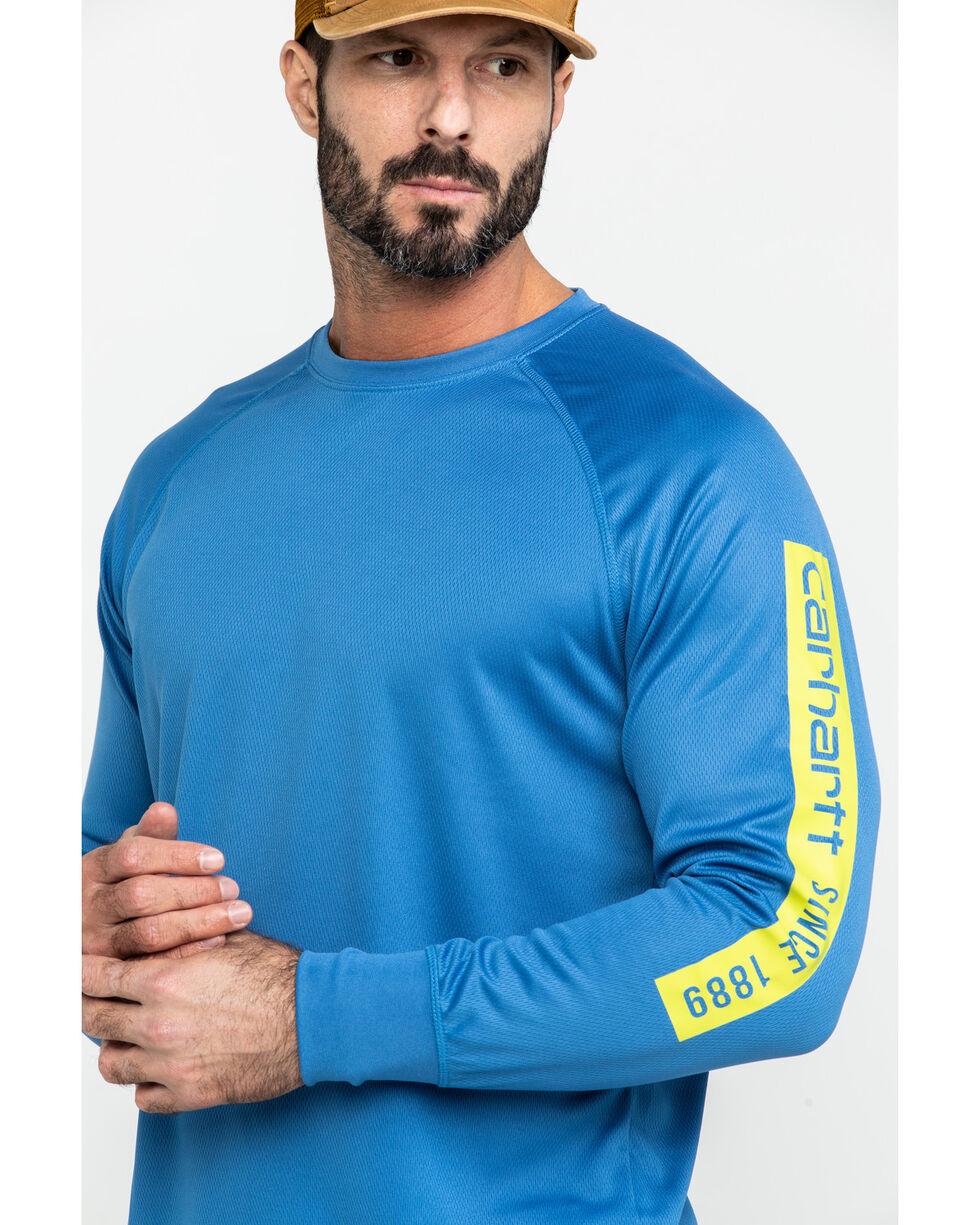 Carhartt Men's Blue Force Birdseye Graphic Long Sleeve Work Shirt , Blue, hi-res