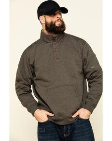 Ariat Men's Wren Heather Rebar Overtime Fleece Work Pullover Sweatshirt , Brown, hi-res