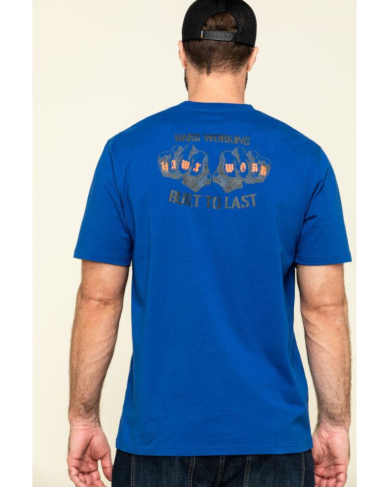Hawx Men's Blue Fist Graphic Short Sleeve Work T-Shirt , Indigo, hi-res