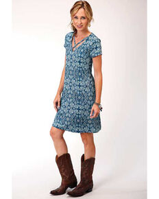 Studio West Women's Criss-Cross Paisley Short Sleeve Dress, Blue, hi-res