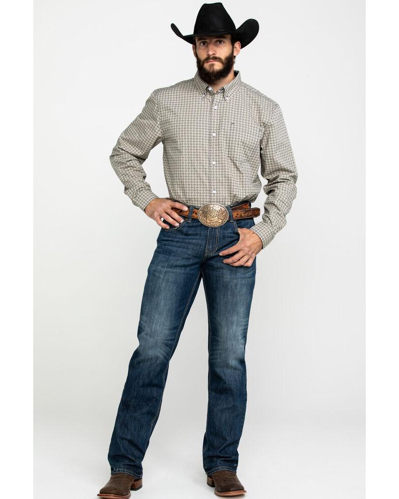 Cody James Core Men's Bijou Criss Cross Dobby Plaid Long Sleeve Western Shirt , Tan, hi-res