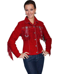 Scully Women's Suede Leather Fringe Jacket - Plus, Red, hi-res