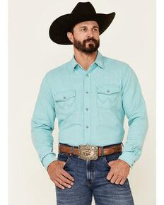 Wrangler Retro Premium Men's Solid Light Blue Long Sleeve Snap Western Shirt , Blue, hi-res