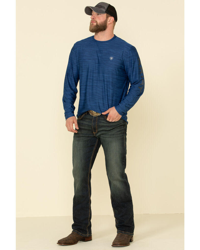 Ariat Men's Blue Charger Logo Graphic Long Sleeve T-Shirt , Blue, hi-res