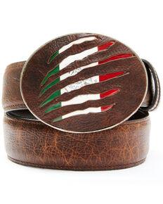 Cody James Men's Mexican Flag Slash Brown Leather Belt, Brown, hi-res
