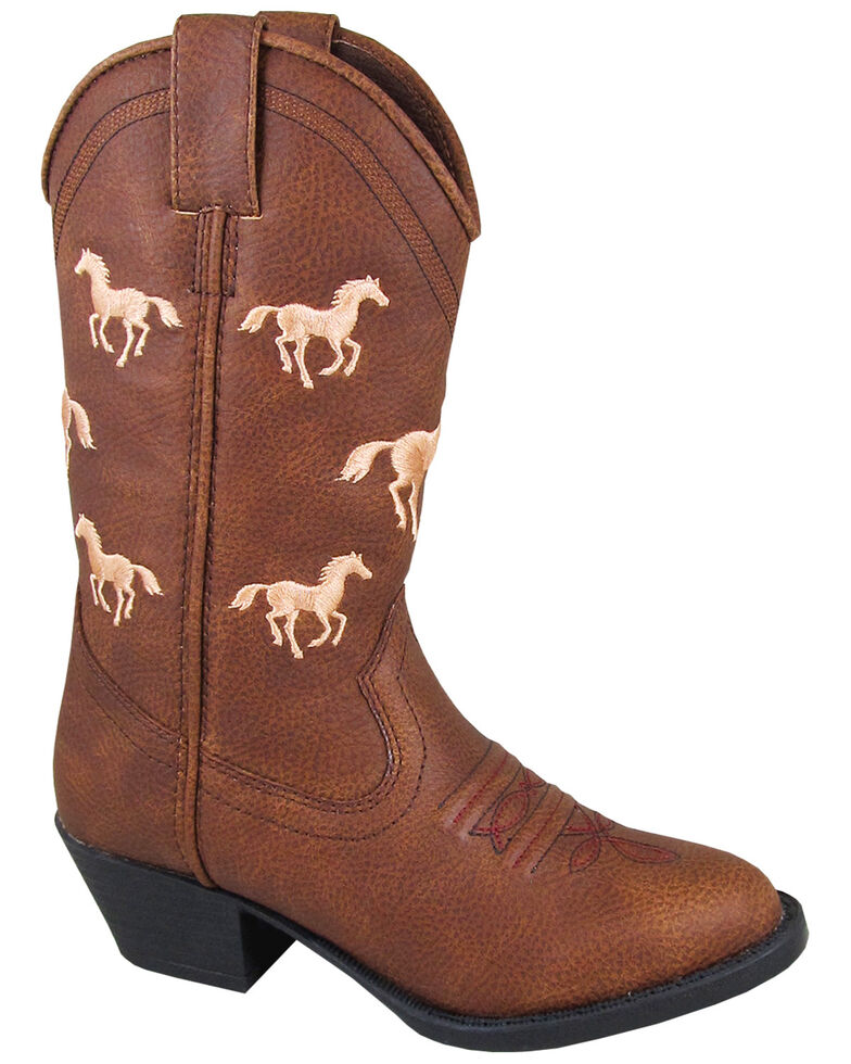 Smoky Mountain Youth Girls' Rustler Western Boots - Round Toe, Brown, hi-res