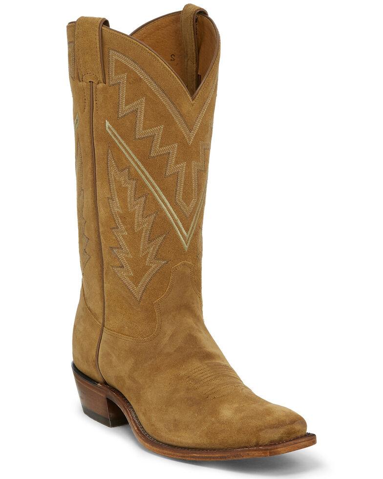 Tony Lama Men's Bingham Suede Western Boots - Square Toe, Tan, hi-res