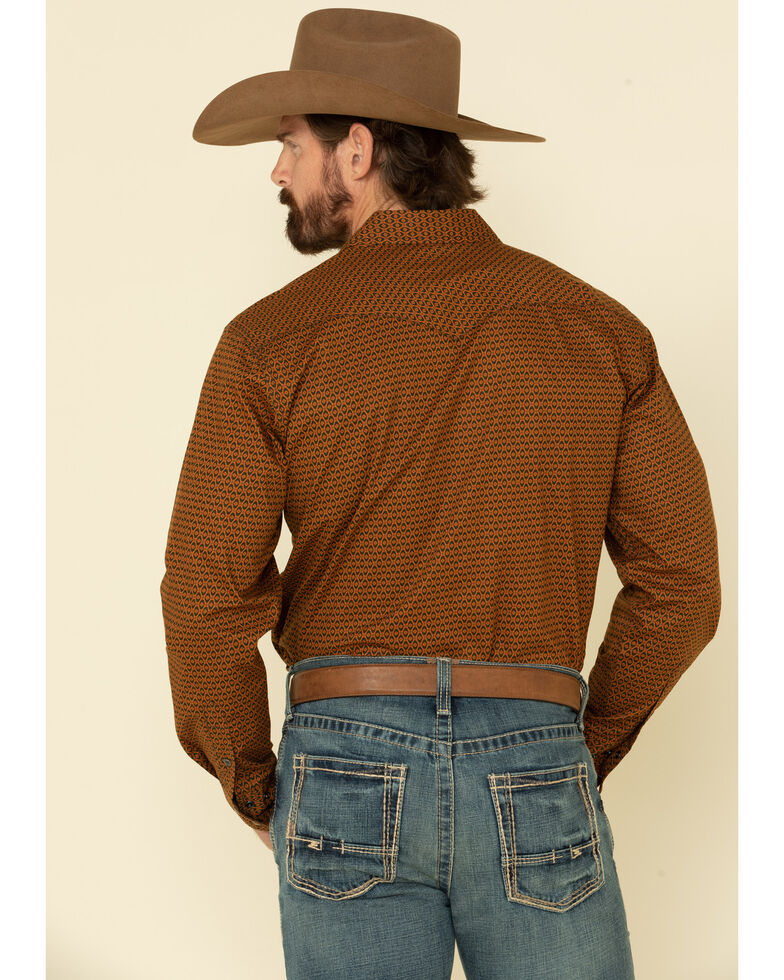 Cinch Men's Modern Fit Rust Copper Geo Print Long Sleeve Western Shirt , Rust Copper, hi-res