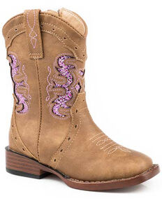 Roper Girls' Lexi Mesh Inlay Western Boots - Square Toe, Tan, hi-res