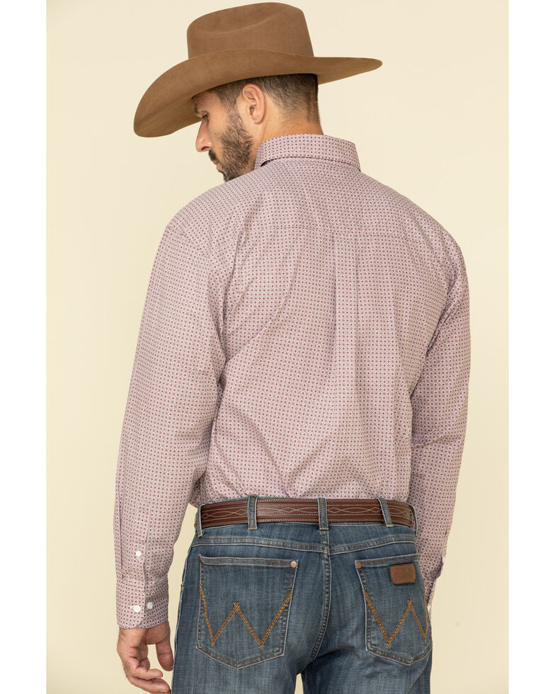 George Strait By Wrangler Men's Burgundy Small Geo Print Long Sleeve Western Shirt - Tall, Burgundy, hi-res