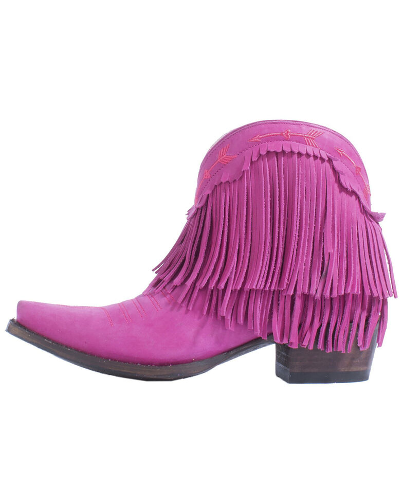 Junk Gypsy by Lane Women's Spitfire Mustard Fringe Booties - Snip Toe, Pink, hi-res
