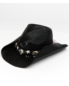 Cody James Men's Black Here Comes Trouble Toyo Straw Western Hat , Black, hi-res