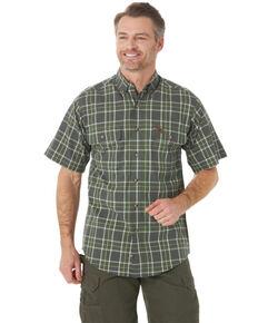 Wrangler Riggs Men's Green Foreman Plaid Short Sleeve Button-Down Work Shirt - Tall , Green, hi-res