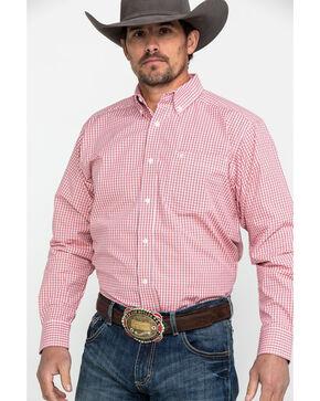 Ariat Men's Drasco Check Plaid Long Sleeve Western Shirt , Pink, hi-res