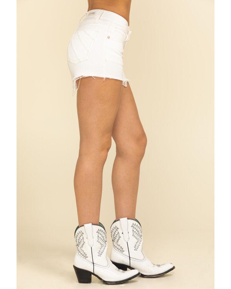 Shyanne Women's White Raw Hem Sunrise Shorts, White, hi-res
