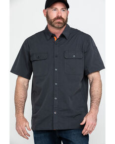 Hawx® Men's Charcoal Solid Yarn Dye Two Pocket Short Sleeve Work Shirt - Tall , Charcoal, hi-res