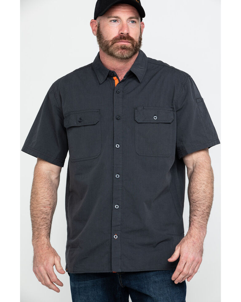 Hawx Men's Charcoal Solid Yarn Dye Two Pocket Short Sleeve Work Shirt - Tall , Charcoal, hi-res