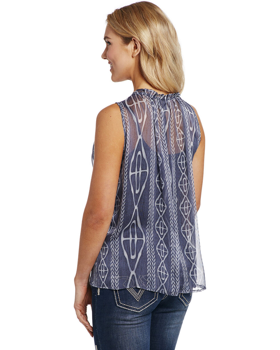 Cowgirl Up Women's Printed V-Neck Blouse , Blue, hi-res