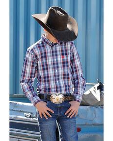 Cinch Boys' Multi Plaid Long Sleeve Western Shirt , Purple, hi-res