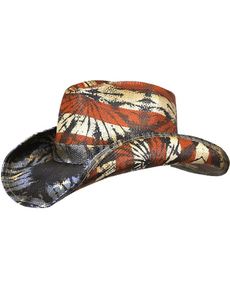 Peter Grimm Men's Americana Tie-Dye Straw Cowboy Hat, Red/white/blue, hi-res