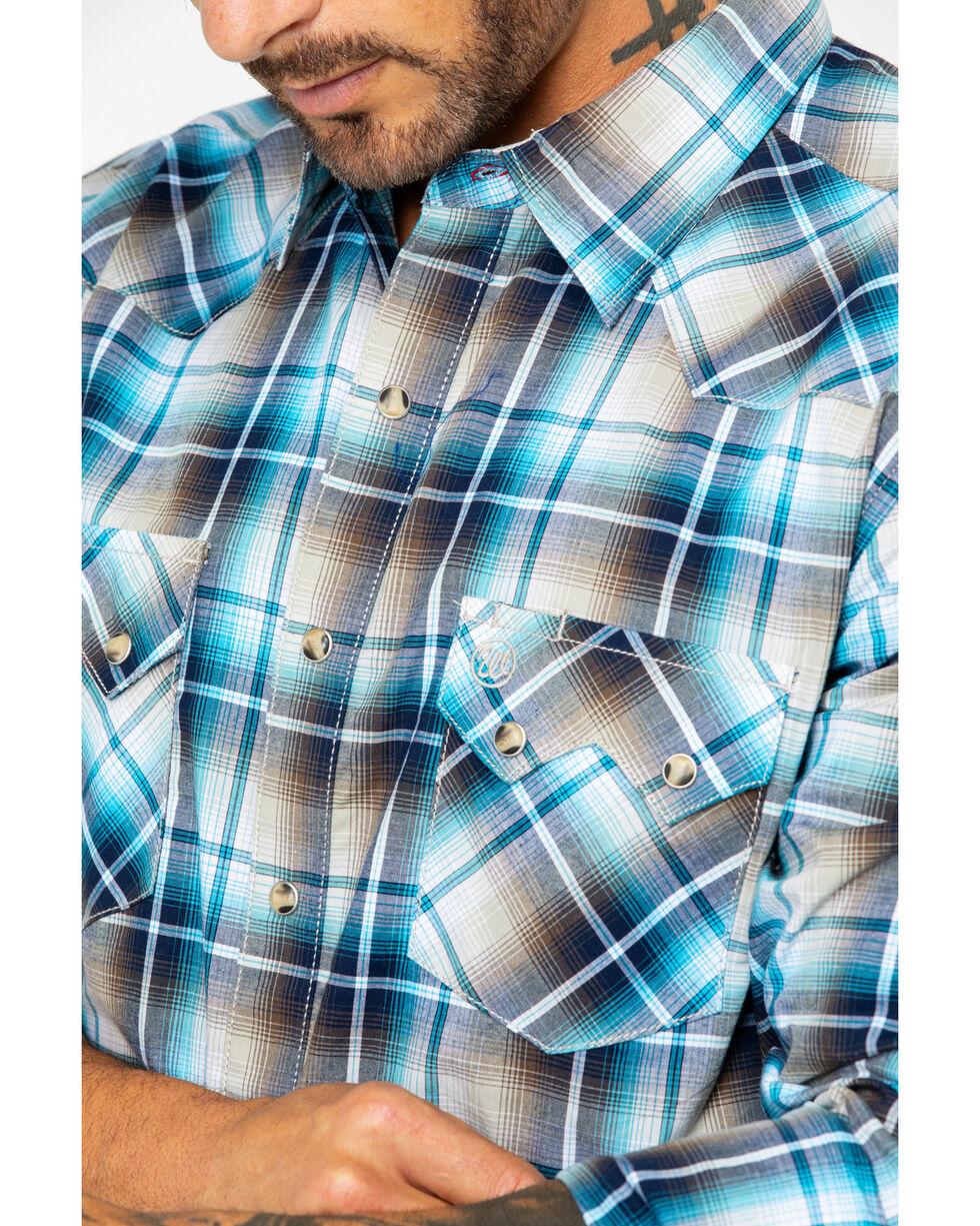 Wrangler Retro Men's Teal Large Plaid Long Sleeve Western Shirt, Teal, hi-res