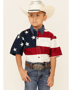 Roper Boys' Stars & Stripes Pieced American Flag Short Sleeve Button-Down Western Shirt , Red/white/blue, hi-res