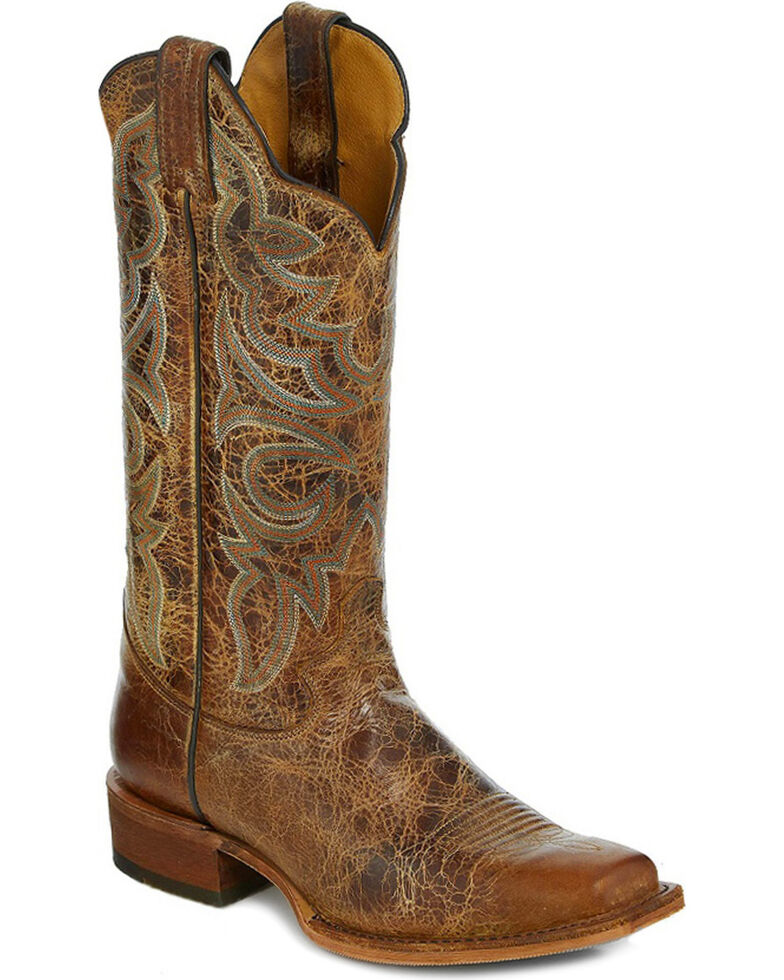 "Justin Bent Rail Women's 13"" Katia Distressed Tan Cowgirl Boots  - Square Toe, Tan, hi-res"