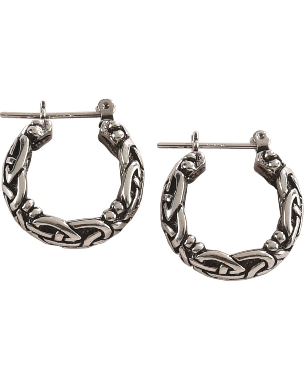 Silver Legends Women's All Silver Celtic Hoop Earrings , Silver, hi-res