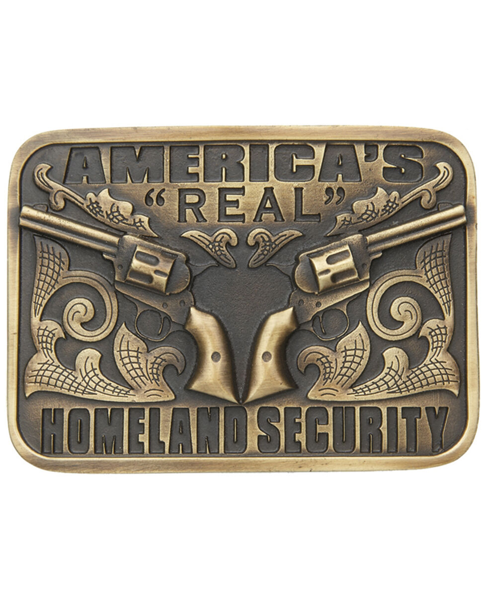 "AndWest America's ""Real"" Homeland Security Belt Buckle, Brass, hi-res"