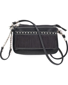 Blazin Roxx Women's Hadley Crossbody Fringe Purse , Black, hi-res