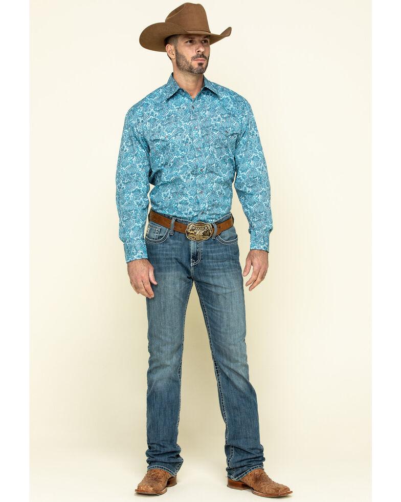 Stetson Men's Blue Paisley Print Long Sleeve Western Shirt , Blue, hi-res