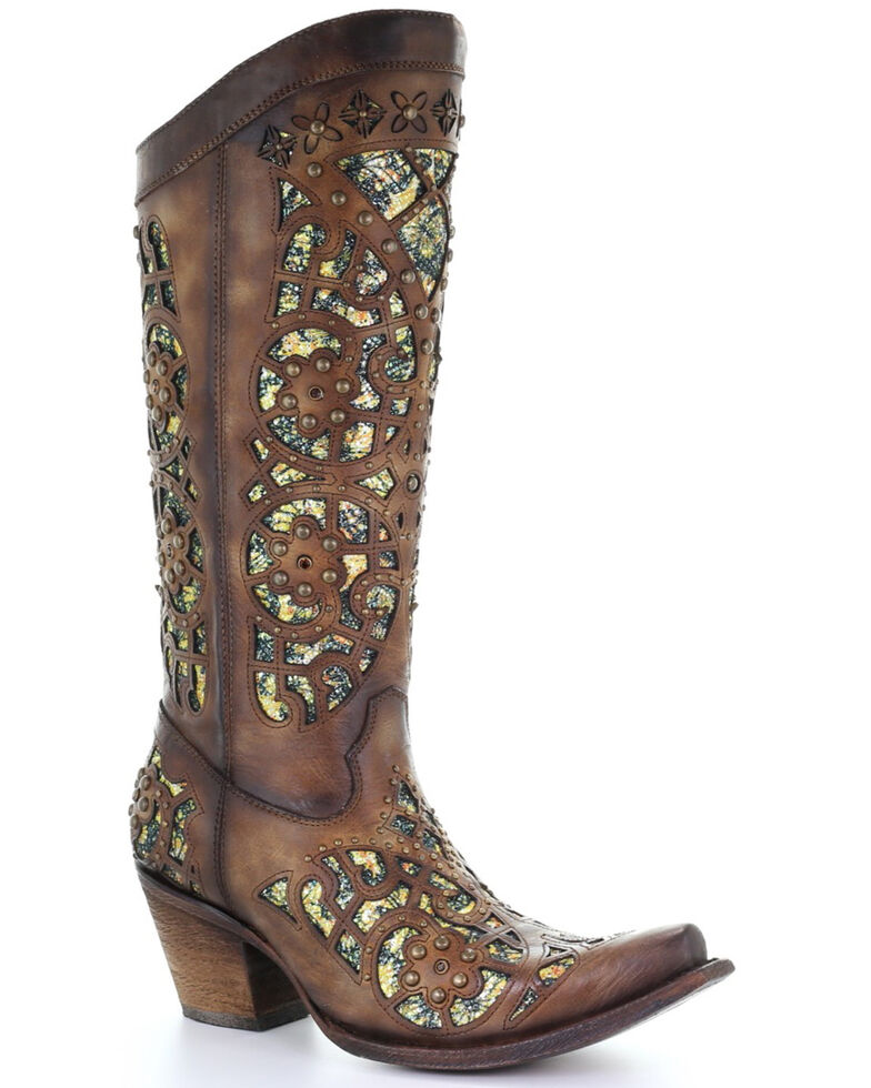 Corral Women's Brown Glitter Inlay Embroidered Leather Western Boots - Snip Toe, Brown, hi-res