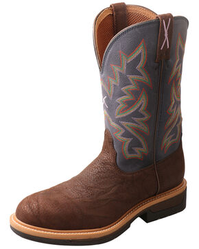 Twisted X Men's Lite Cowboy Western Work Boots - Round Toe, Brown/blue, hi-res