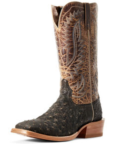 Ariat Men's Showman Mocha Full Quill Ostrich Western Boots - Wide Square Toe, Brown, hi-res