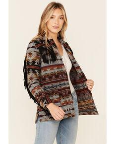 Idyllwind Women's Aztec Print Fringe Blanket Jacket , Rust Copper, hi-res