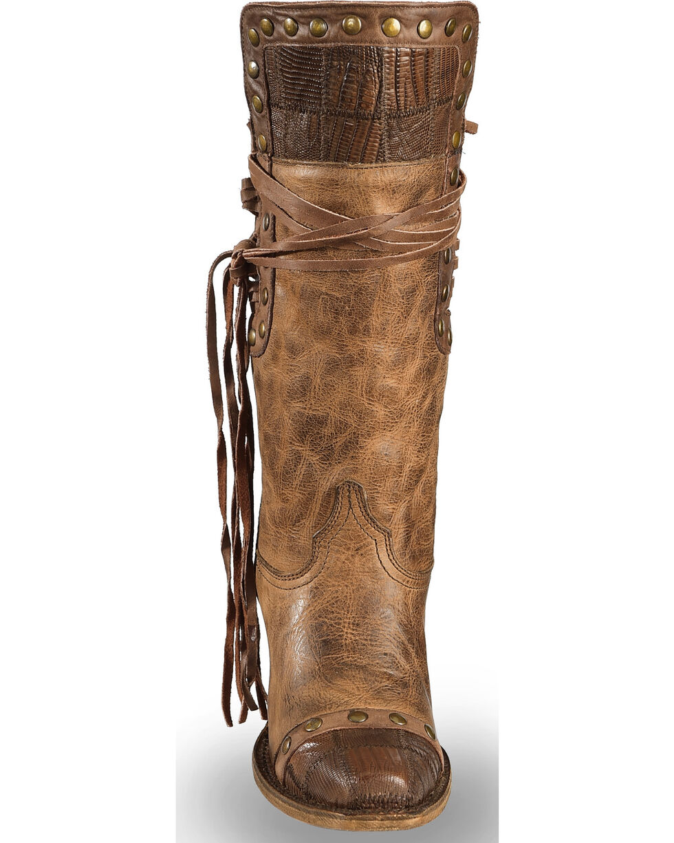 Corral Women's Vintage Lizard Patchwork Western Boots - Square Toe, Brown, hi-res