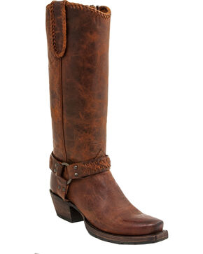 Lucchese Women's Handmade Harness Lug Boots - Square Toe, Honey, hi-res